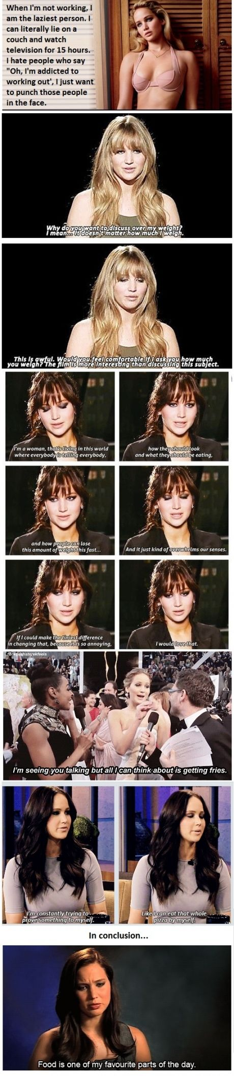 I love Jennifer Lawrence. She's inspiring and such a down-to-earth girl. She's got her priorities straight ;)