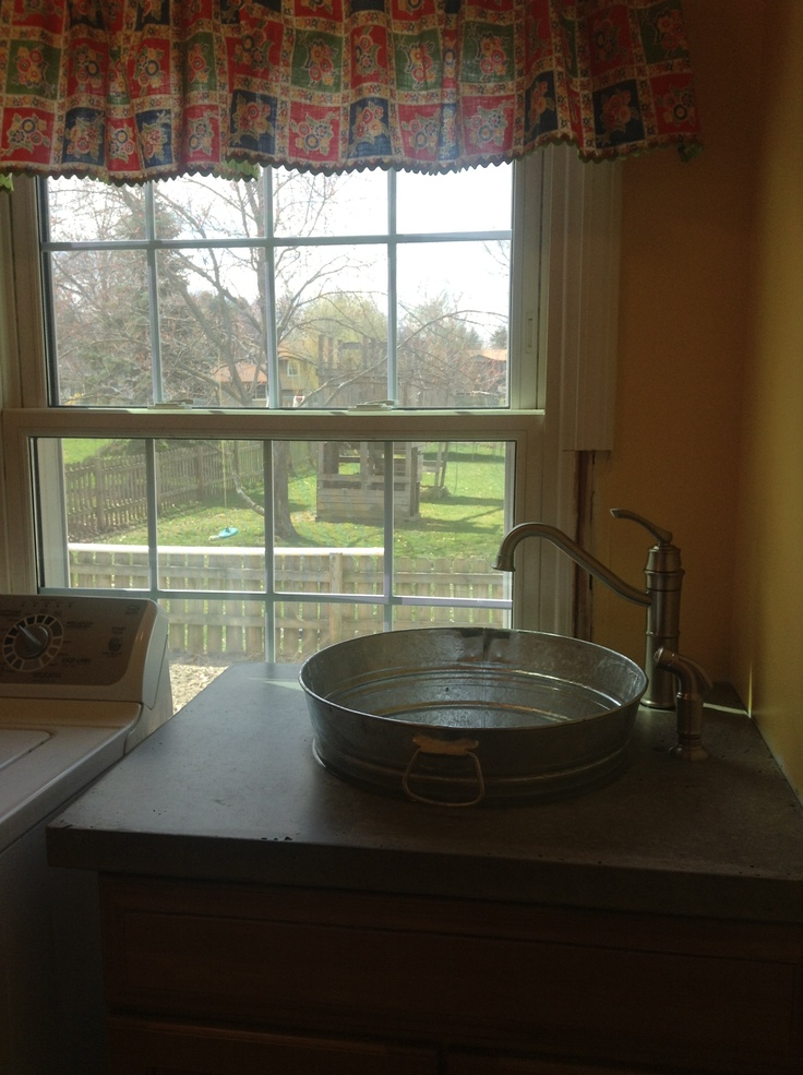 My New Sink Cement Countertop With Washtub Sink