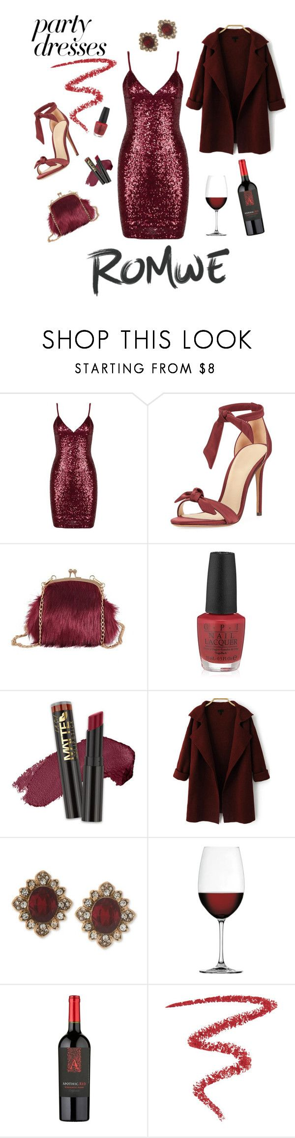"""Wine me baby!!"" by nashalymoe ❤ liked on Polyvore featuring Alexandre Birman, OPI, L.A. Girl, Marchesa, Nachtmann and By Terry"