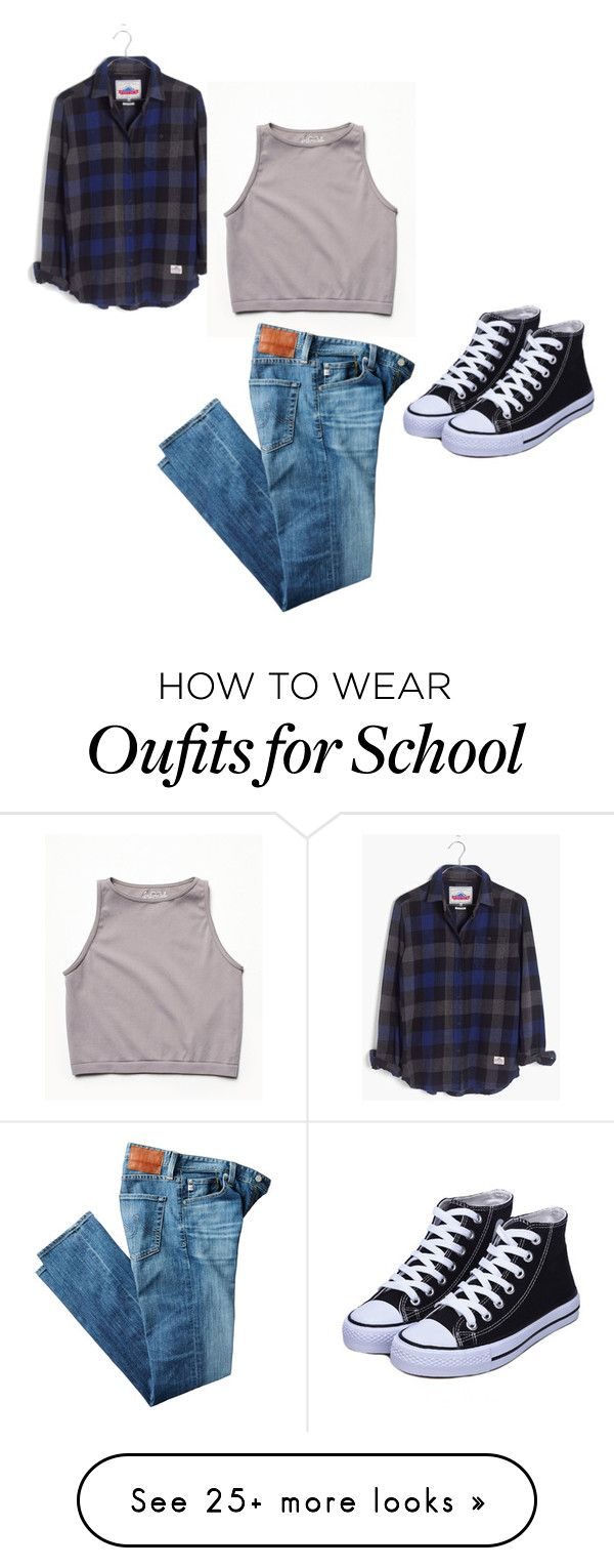 """""""Casual for school look"""" by jenniferrrrrrrrr on Polyvore featuring Madewell, Free People and AG Adriano Goldschmied"""
