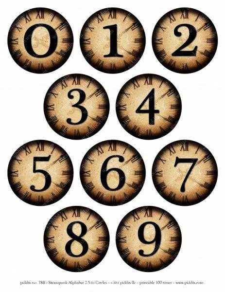 Alpha-Steampunk 2.5-inch Circles-cijfers