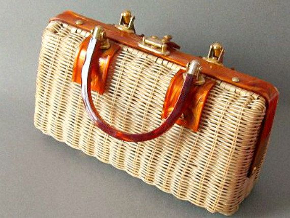 Vintage Wicker Handbag Lucite Handles  1950s by