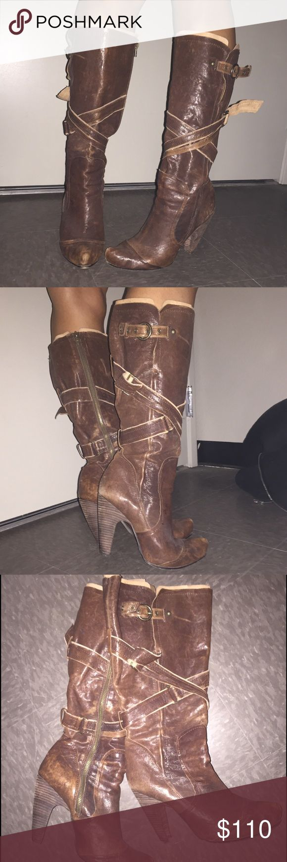 """Brown leather Seychelles boots Real leather knee high Seychelles brown boots. Worn a couple of times. Easy zipper up the side. Very comfortable. Rugged """"worn"""" look. seychelles Shoes Heeled Boots"""