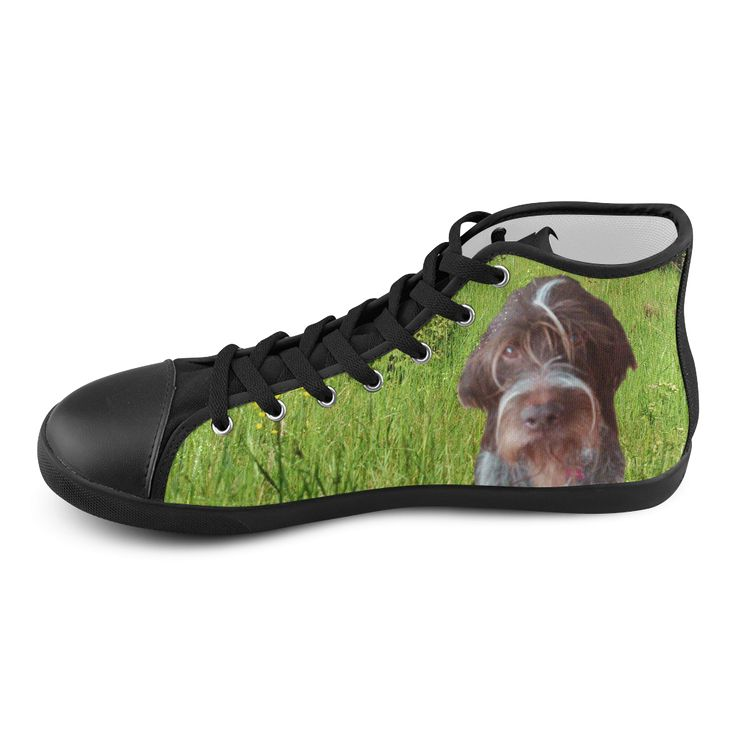 Dog and Flowers High Top Canvas Kid's Shoes. FREE Shipping. #artsadd #sneakers #dogs