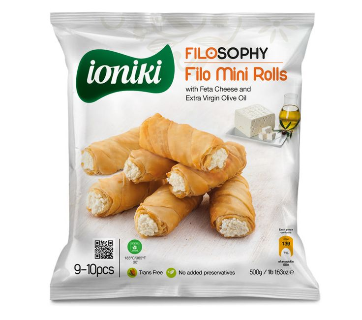 Ioniki Sfoliata - Filo Mini Rolls with Feta Cheese and Extra Virgin Olive Oil - QR Code on package