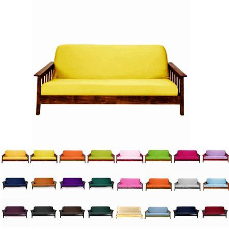 """Free Shipping. Buy Solid Futon Cover Slipcover Fit 6""""- 8"""" Futon Mattresses Sunshine, Full Size 54x75 Inch at Walmart.com"""