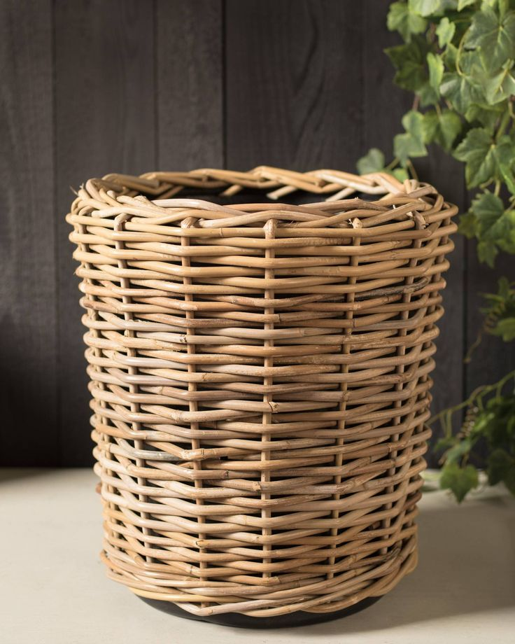 Outdoor Rattan Basket Planter | Balsam Hill