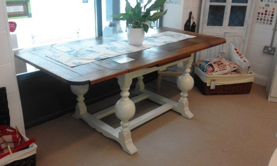 Refurbished Oak extending table by GwerDenStudio on Etsy