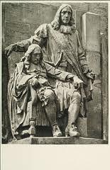 Het standbeeld van gebroeders de Wit op de Visbrug in Dordrecht