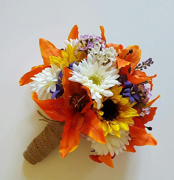 Sunflower and Tiger Lily Wedding Bouquet, Orange Lily Bridal Bouquet, Fall Wedding Flowers, Fall Bridal Bouquet, Gerbera Daisy Bouquet by shannonkristina. Explore more products on http://shannonkristina.etsy.com