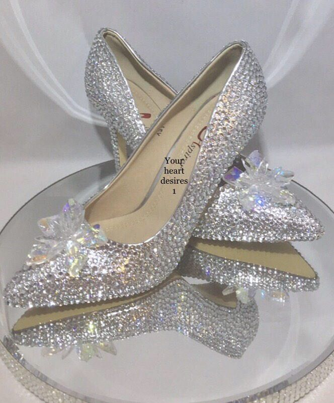 Swarovski Look Shoes Cinderella Wedding Heels Bridal Wedding Etsy Wedding Heels Cinderella Wedding Shoes Wedding Shoes