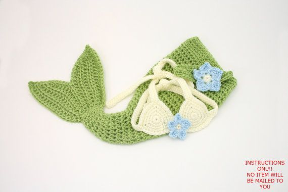 This listing is for a DIGITAL PATTERN (INSTRUCTIONS) on how to make the item shown yourself. This listing is NOT FOR THE FINISHED ITEM. NO FINISHED ITEM WILL BE MAILED TO YOU.   (Pattern #: B08) CROCHET PATTERN ONLY: Baby mermaid costume with mermaid tail, adorable bikini top and headband with tropical flower accents! Perfect for baby shower gifts and photography sessions! Pattern is detailed and easy to follow! Contact me with any questions!  PATTERN DIFFICULTY: Easy-Intermediate  You Will…