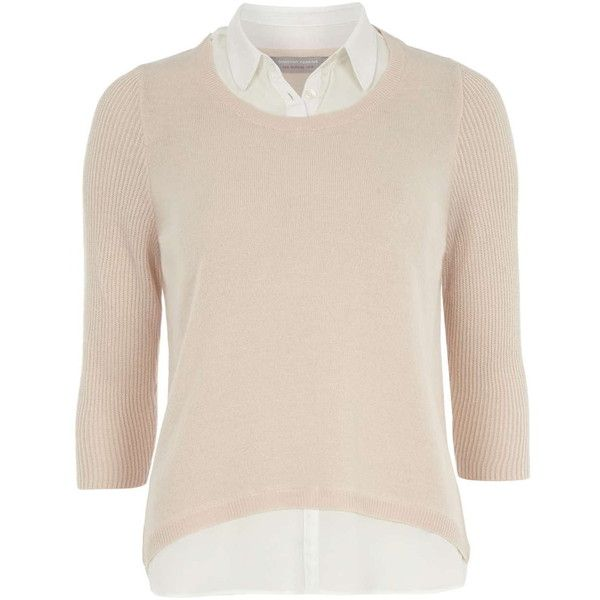 Dorothy Perkins Petite blush 2 in 1 jumper ($29) ❤ liked on Polyvore featuring tops, sweaters, shirts, petite, pink, petite shirts, acrylic sweater, pink shirt, pink jumper and collared shirt sweater