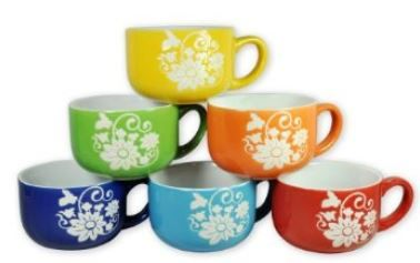 Set Of 6 Large Sized 14 Ounce Colored Ceramic Coffee Mugs (Daisy) By Luzys  Storage Place,