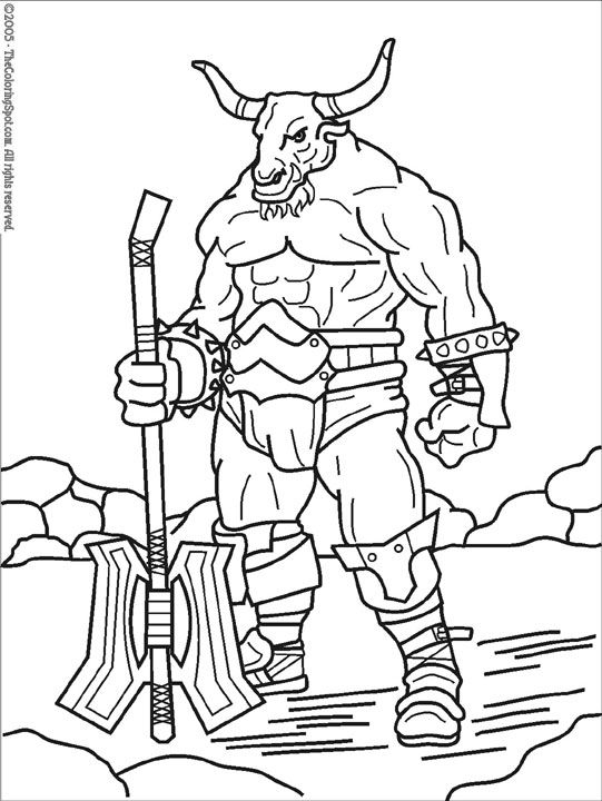 minotaur mythical creatures coloring pages colouring