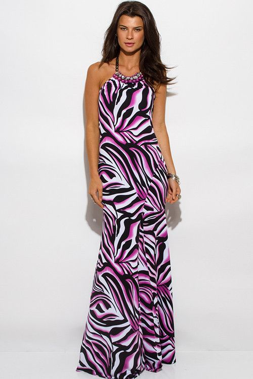 Zebra animal print maxi dress
