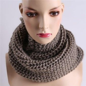 48e321bfe7a Winter Women Warm Scarf Wrap Hat Set Knitted Knitting Skullcaps Gray - Intl