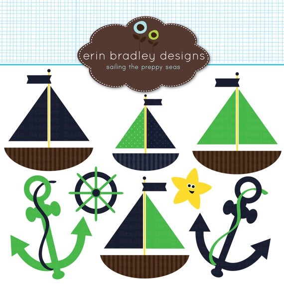 Nautical Clipart Commercial Use Sailboats and Anchors Clip ...