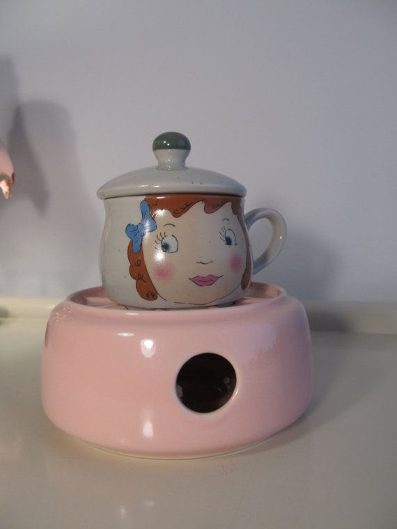 Vintage Ceramic Tea cup with Lid and Warmer, Vintage Food Warmer, Baby Food Warmer, Candle Warmer