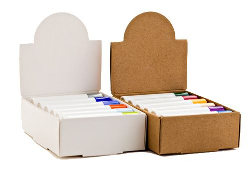 "Display your lines of lip balm in a professional presentation. Box measures 4.5"" tall, comes in your choice of white or kraft, and holds a dozen standard round (.15 oz) lip balm tubes. Lid folds down for easy transport. Lip balm packaging made easy! <br /><br />Customers who purchased Lip Balm Tube Display Boxes also purchased lip balm packaging, lip%..."
