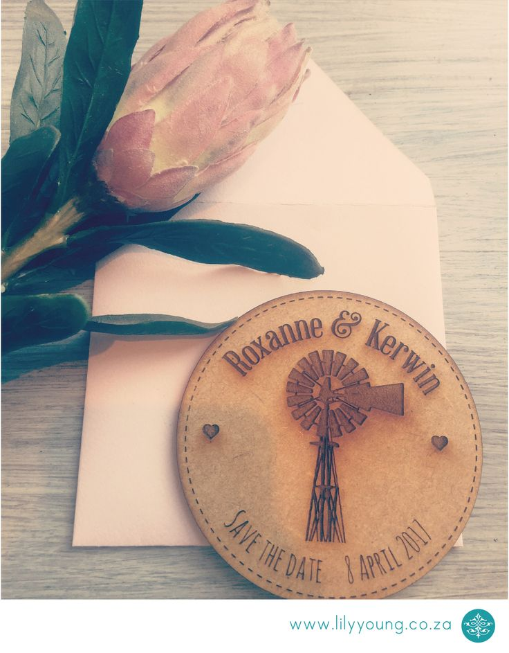 Wooden Save the date magnet with a bespoke envelope.