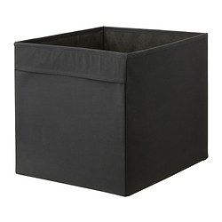 PACKING AREA: DRÖNA Box - black - IKEA $4.99 each. To fit the expedit shelf. No white available but black would work. Some pink, some black