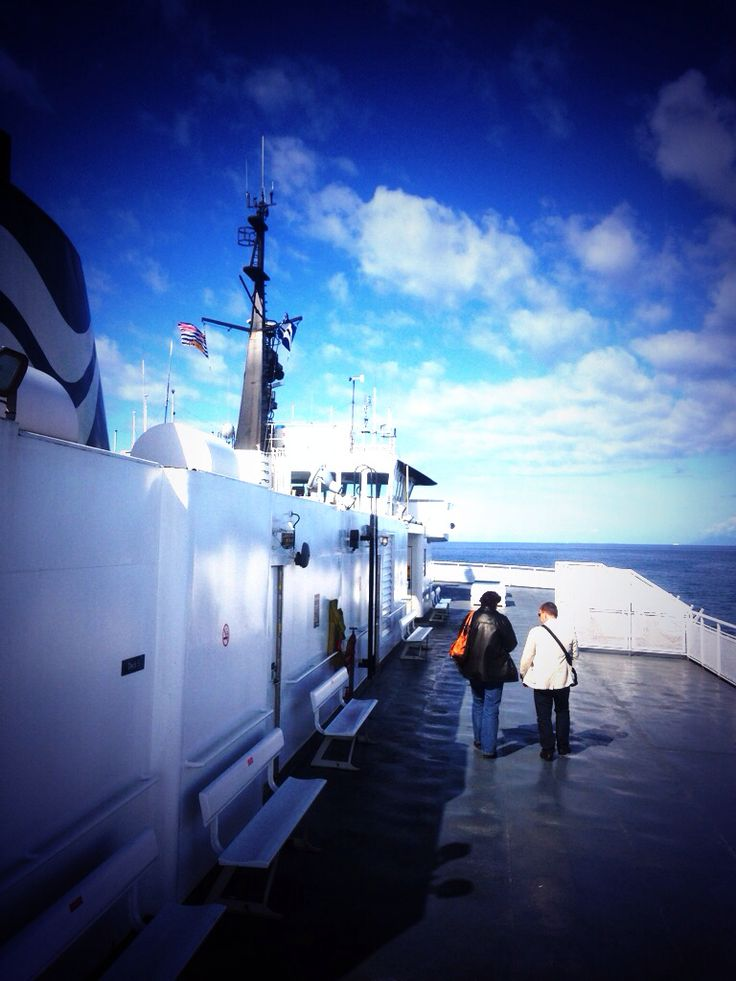 Walking along the deck of a BC ferry boat on a crisp autumn morning