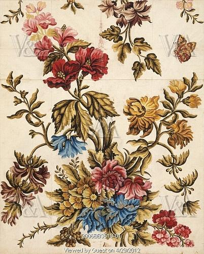 Textile design, by Anna Maria Garthwaite (1690-1763). Watercolour. Spitalfields, London, England, c.1735-36.