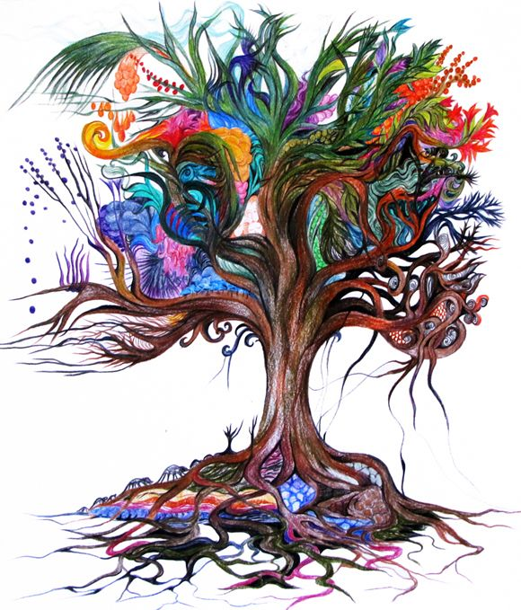 Tree of Life - Colored pencil drawing By Bracha Lavee