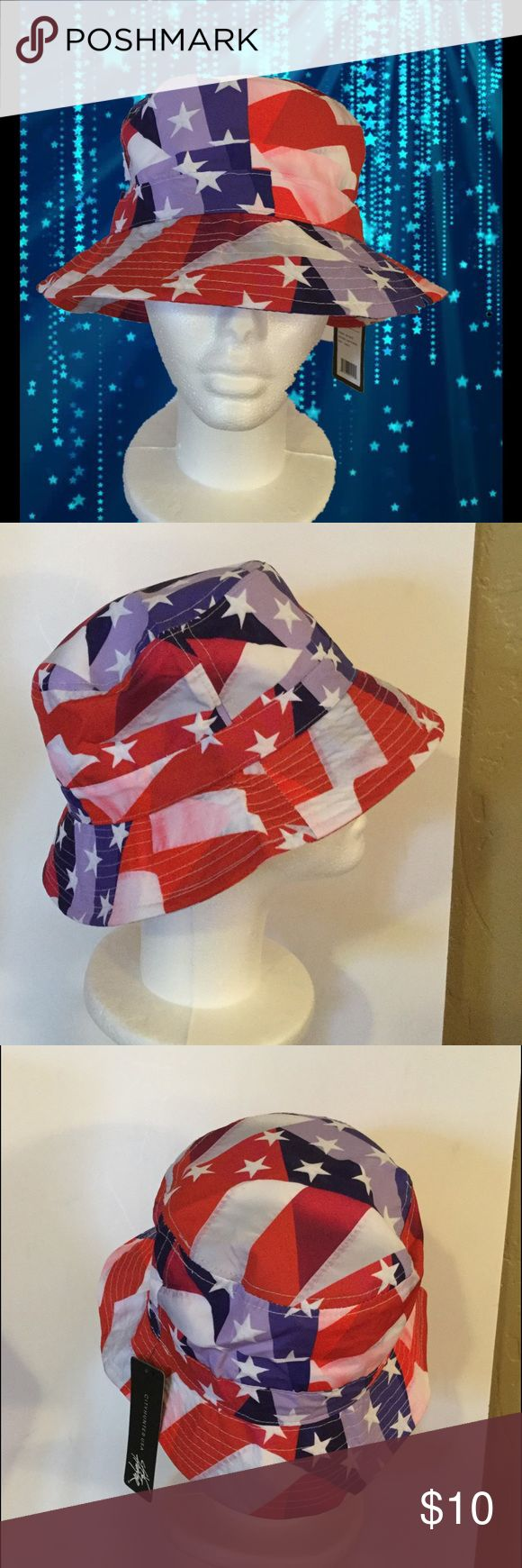 Red, White & Blue Hat Red, white and blue bucket hat with white stars, 100% Polyester City Hunter USA Accessories Hats