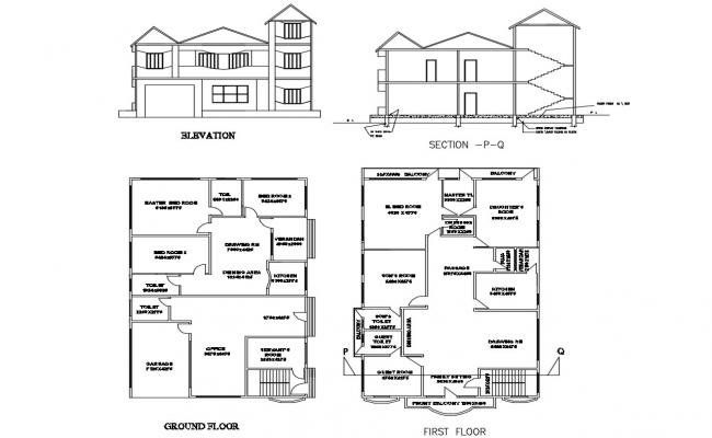 Two Level House Elevation Section Ground And First Floor Plan Details Dwg File One Floor House Plans Floor Plans House Elevation