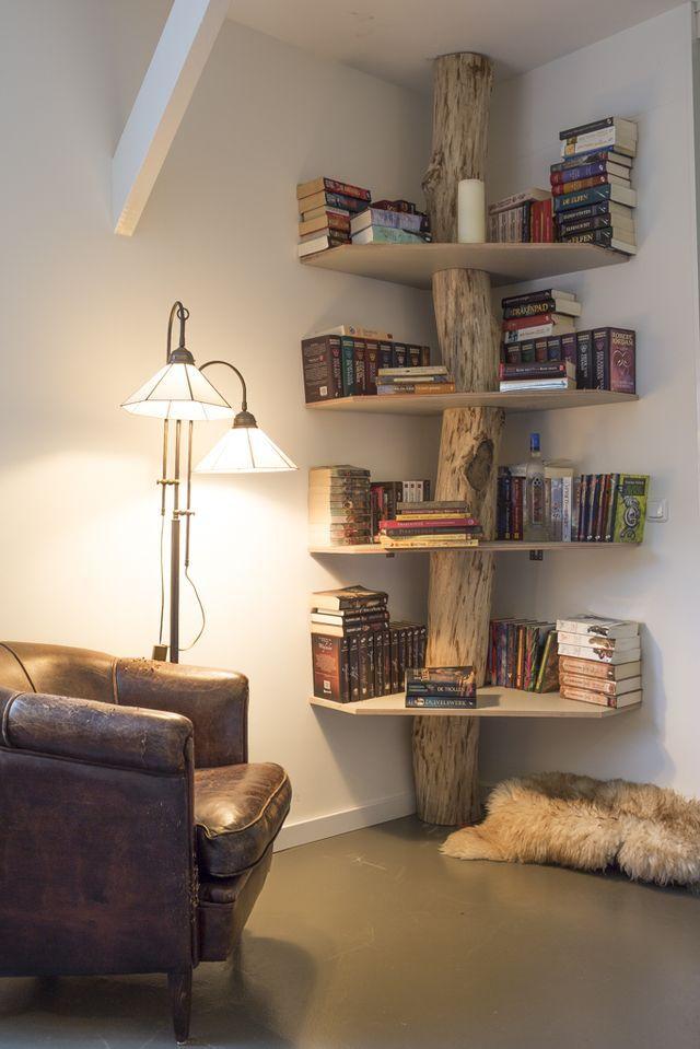 Ein originelles Bücherregal aus einem alten Baumstamm