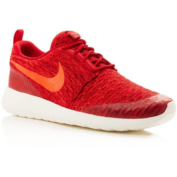 Nike Women's Roshe One Flyknit Sneakers ($120) ❤ liked on Polyvore featuring shoes, sneakers, red, nike, red shoes, nike sneakers, nike shoes and red sneakers