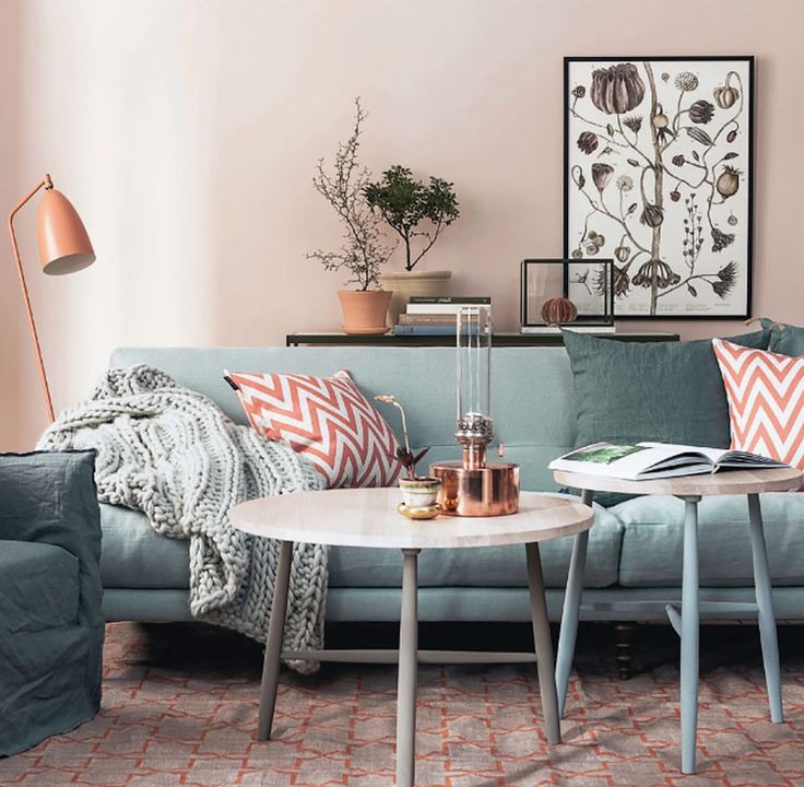 Pretty In Peach This Pastel Hue Is Starting To Make A Comeback Get Gray Living RoomsLiving Room ColorsLiving