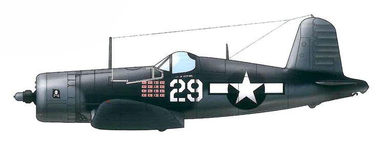 Vought F4U-A1D Corsair «Blanco 29» perteneciente al Teniente Ira C. 'Ike' Kepforda (16 victorias) del VF-17 «Jolly Roger», Bougainville, Islas Salomón, febrero de 1944. http://www.elgrancapitan.org/foro/viewtopic.php?f=52&t=17924&p=915492#p915465