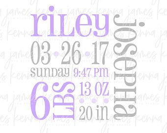 Birth Announcement svg | Birth Announcement Template svg | Birth Stats svg | Baby svg | Newborn svg | Welcome Baby svg | SVG | DXF | file