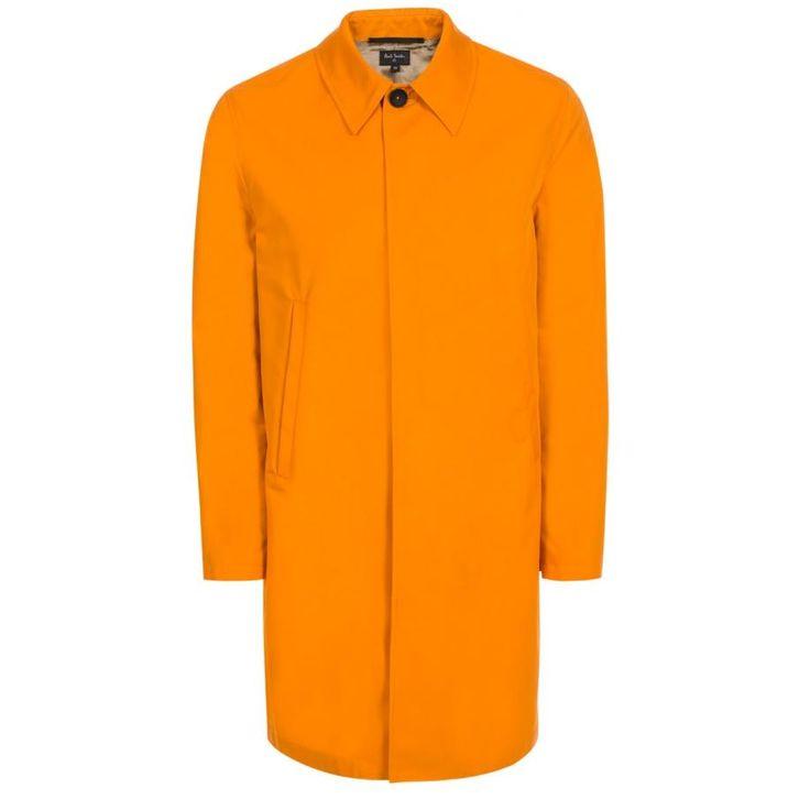 Paul Smith Men's Orange Cotton-Blend Water-Resistant Mac