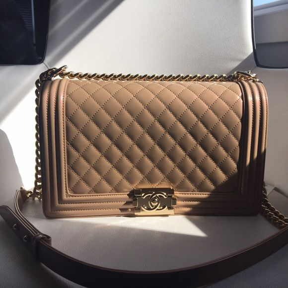 New medium Chanel Boy bag Dark beige - Patent leather - Gold hardware - New medium - Brand new - Comes with everything! MORE PICTURES FOR SERIOUS BUYERS ONLY!! DO NOT ASK FOR PICTURES OF YOU ARE NOT GENUINELY INTERESTED. CHANEL Bags Shoulder Bags