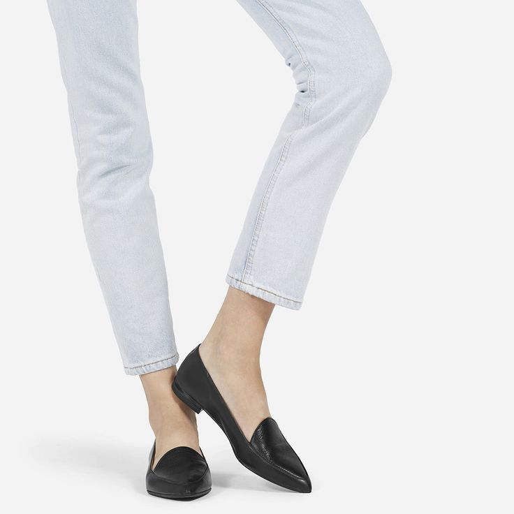 Make your point. Smooth Italian leather, a slim tapered toe, and just a touch of texture make this one of the most elegant flats in your weekly rotation. Feminine and functional.