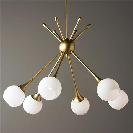 """MidCentury Modern Mobile Chandelier 6 Light $338 Golden Brass or Brushed Nickel rods with opal glass globes bring a midcentury modern cluster of lights to your space.  6x60 watt G9 Xenon bulbs included.  (17""""Hx24""""W) Minimum OAH 23"""" and maximum OAH 59"""". Supplied with 3-12"""" and 1-6"""" rods.  5"""" diameter canopy."""