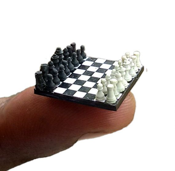 Miniature Chess Set handcraft chess board only 17 x 17  by Nanogs
