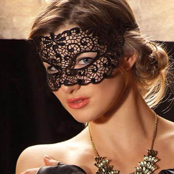 Black Cutout Mask Lace  Halloween Party