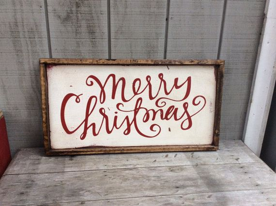 "13.5""x25.5"" Merry Christmas  Wood Sign Christmas Sign by sophisticatedhilbily"
