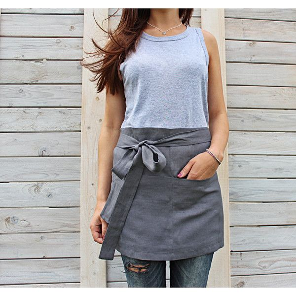 Cafe Apron Linen Half Apron Unisex Linen Apron Chef Cafe Wrap Apron... ($27) ❤ liked on Polyvore featuring home, kitchen & dining, aprons, home & living, linens, white, handmade aprons, linen apron, white apron and white waist apron