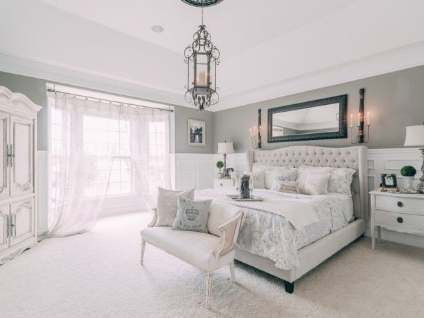 Antiques Beige Carpet Flooring Grey Interior Walls Tufted Headboard Vintage White Night Stand Tuf Modern Chic Bedrooms Shabby Chic Dresser Shabby Chic Bedrooms