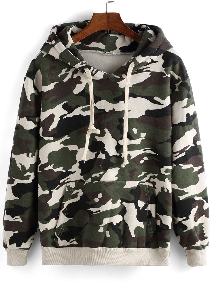 Sudadera con capucha camuflage suelta-(Sheinside)