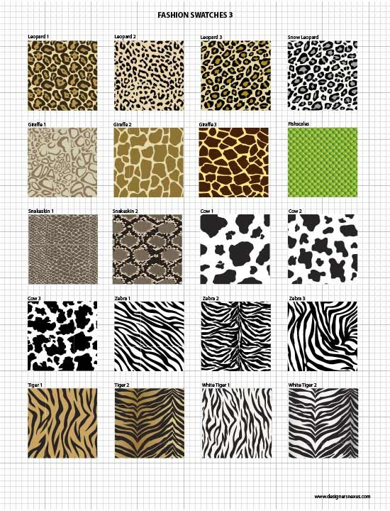 Vector Fabric Swatches & Fashion Embellishments $49.95 - Seamless Vector Pattern Swatches of Animal Prints: Leopard print, Giraffe print, Snake print, Cow prints, Zebra prints, Tiger prints