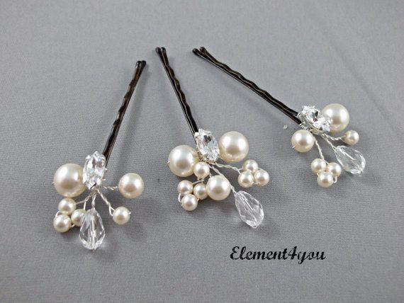 Pearl Hair Clips Bridal Hair Pins Wedding Hair by Element4you, $20.00