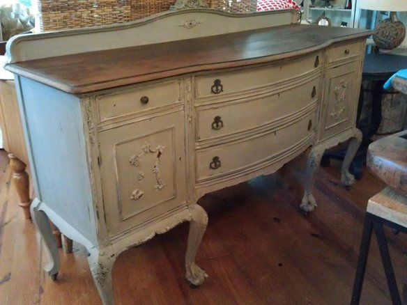 Annie Sloan French Linen with a wooden top. - I love it!!!!