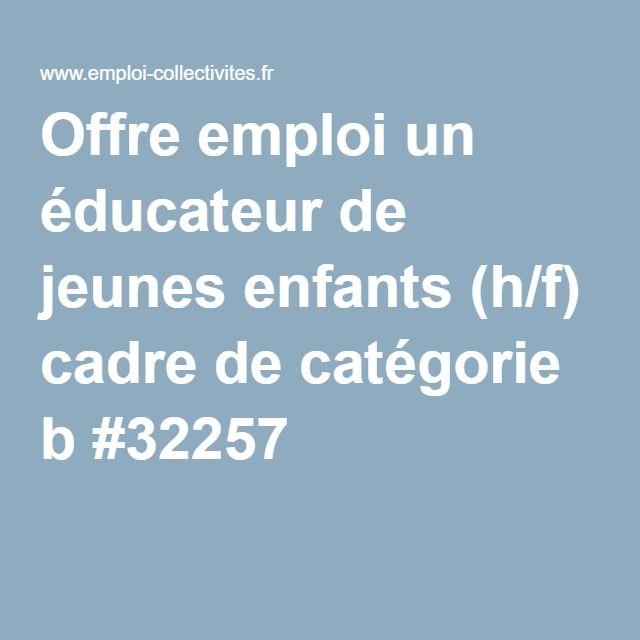 Offre emploi un éducateur de jeunes enfants (h/f) cadre de catégorie b #32257
